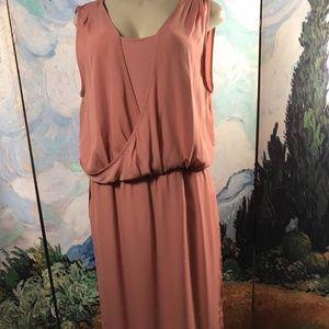 H By Halston Pink Rose Faux Wrap Sleeveless Dress